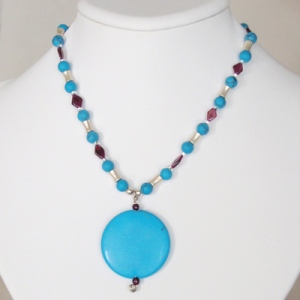 Turquoise, Garnet & Sterling Silver Necklace